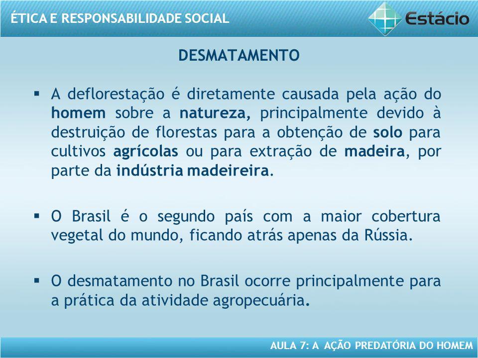 ÉTICA E RESPONSABILIDADE SOCIAL AULA 7: A AÇÃO PREDATÓRIA DO HOMEM A deflorestação é diretamente causada pela ação do homem sobre a natureza, principa
