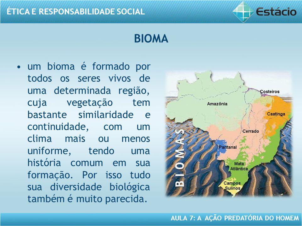 ÉTICA E RESPONSABILIDADE SOCIAL AULA 7: A AÇÃO PREDATÓRIA DO HOMEM um bioma é formado por todos os seres vivos de uma determinada região, cuja vegetaç