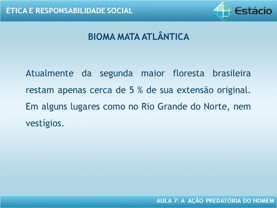 ÉTICA E RESPONSABILIDADE SOCIAL AULA 7: A AÇÃO PREDATÓRIA DO HOMEM Atualmente da segunda maior floresta brasileira restam apenas cerca de 5 % de sua e