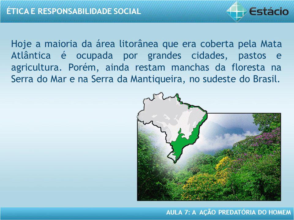 ÉTICA E RESPONSABILIDADE SOCIAL AULA 7: A AÇÃO PREDATÓRIA DO HOMEM Hoje a maioria da área litorânea que era coberta pela Mata Atlântica é ocupada por