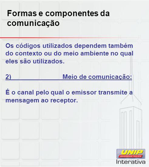 Formas e componentes da comunicação Os códigos utilizados dependem também do contexto ou do meio ambiente no qual eles são utilizados. 2)Meio de comun