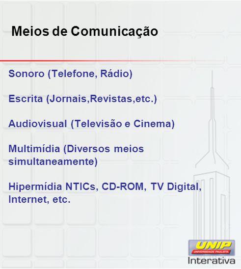 Meios de Comunicação Sonoro (Telefone, Rádio) Escrita (Jornais,Revistas,etc.) Audiovisual (Televisão e Cinema) Multimídia (Diversos meios simultaneamente) Hipermídia NTICs, CD-ROM, TV Digital, Internet, etc.