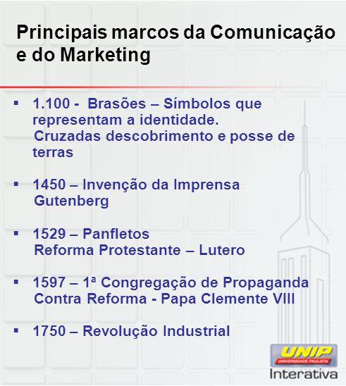 Principais marcos da Comunicação e do Marketing 1.100 - Brasões – Símbolos que representam a identidade. Cruzadas descobrimento e posse de terras 1450