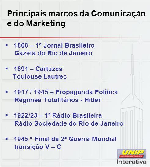 Principais marcos da Comunicação e do Marketing 1808 – 1º Jornal Brasileiro Gazeta do Rio de Janeiro 1891 – Cartazes Toulouse Lautrec 1917 / 1945 – Pr