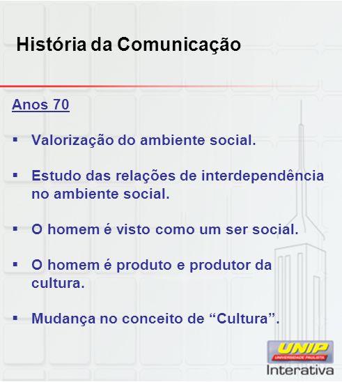 História da Comunicação Anos 70 Valorização do ambiente social. Estudo das relações de interdependência no ambiente social. O homem é visto como um se
