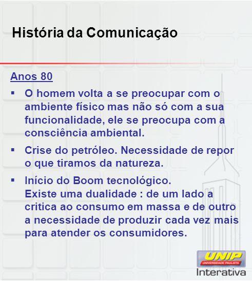 História da Comunicação Anos 80 O homem volta a se preocupar com o ambiente físico mas não só com a sua funcionalidade, ele se preocupa com a consciência ambiental.