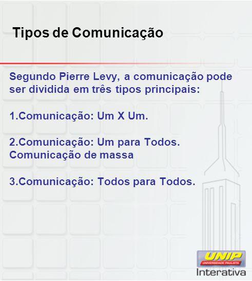 Tipos de Comunicação Segundo Pierre Levy, a comunicação pode ser dividida em três tipos principais: 1.Comunicação: Um X Um. 2.Comunicação: Um para Tod