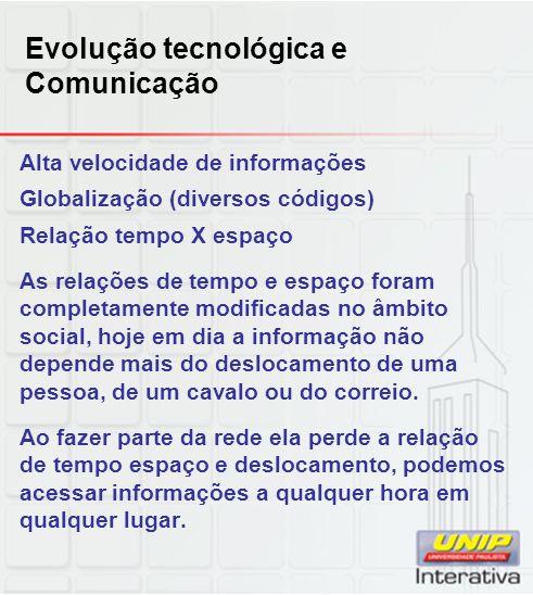 Evolução tecnológica e Comunicação Alta velocidade de informações Globalização (diversos códigos) Relação tempo X espaço As relações de tempo e espaço