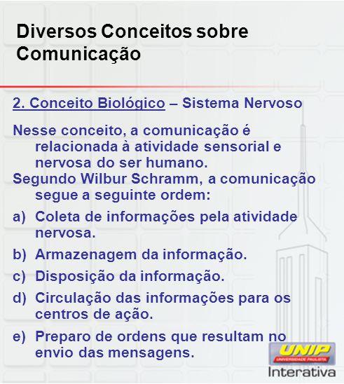 2. Conceito Biológico – Sistema Nervoso Nesse conceito, a comunicação é relacionada à atividade sensorial e nervosa do ser humano. Segundo Wilbur Schr