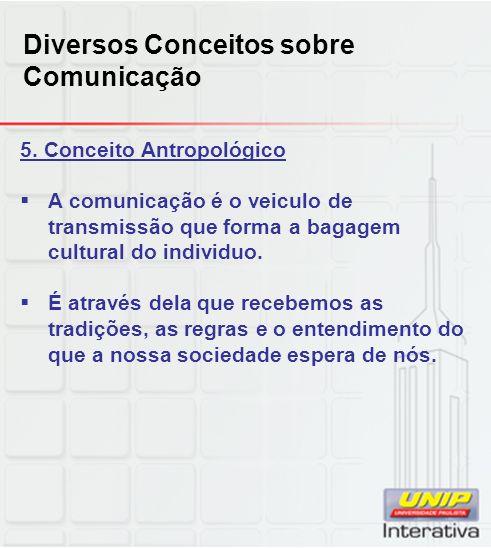 Diversos Conceitos sobre Comunicação 5. Conceito Antropológico A comunicação é o veiculo de transmissão que forma a bagagem cultural do individuo. É a
