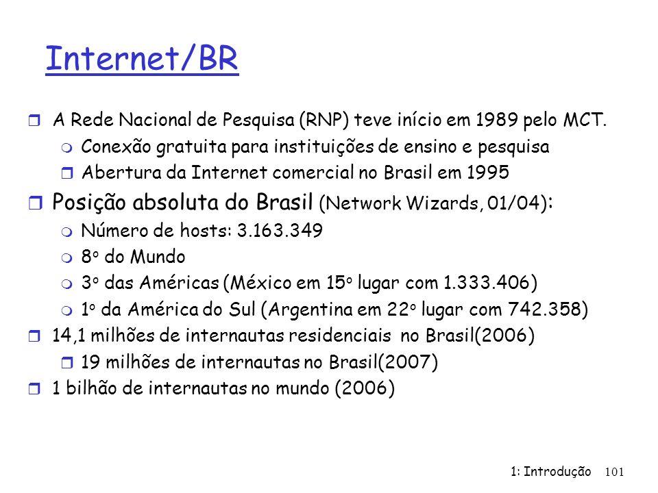 Internet/BR r A Rede Nacional de Pesquisa (RNP) teve início em 1989 pelo MCT. m Conexão gratuita para instituições de ensino e pesquisa r Abertura da