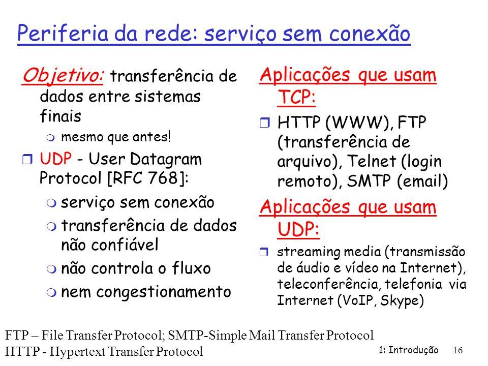 Periferia da rede: serviço sem conexão Objetivo: transferência de dados entre sistemas finais m mesmo que antes! r UDP - User Datagram Protocol [RFC 7