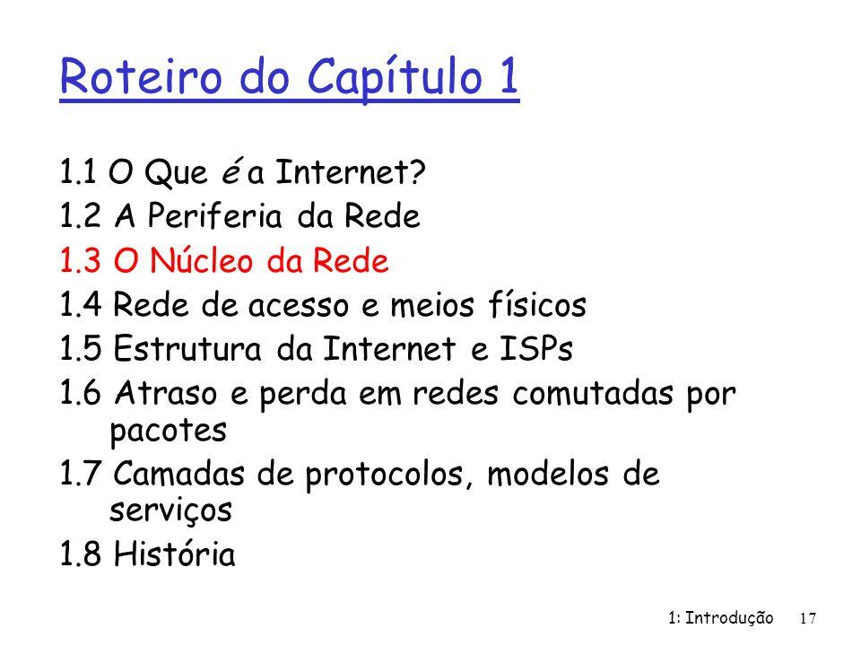 Roteiro do Capítulo 1 1.1 O Que é a Internet? 1.2 A Periferia da Rede 1.3 O Núcleo da Rede 1.4 Rede de acesso e meios físicos 1.5 Estrutura da Interne