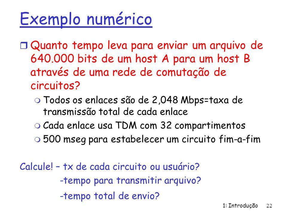 Exemplo numérico r Quanto tempo leva para enviar um arquivo de 640.000 bits de um host A para um host B através de uma rede de comutação de circuitos?