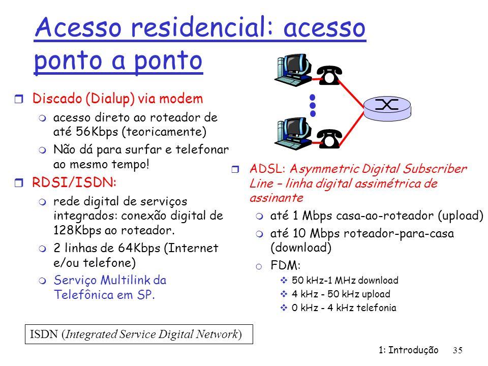 Acesso residencial: acesso ponto a ponto r Discado (Dialup) via modem m acesso direto ao roteador de até 56Kbps (teoricamente) m Não dá para surfar e