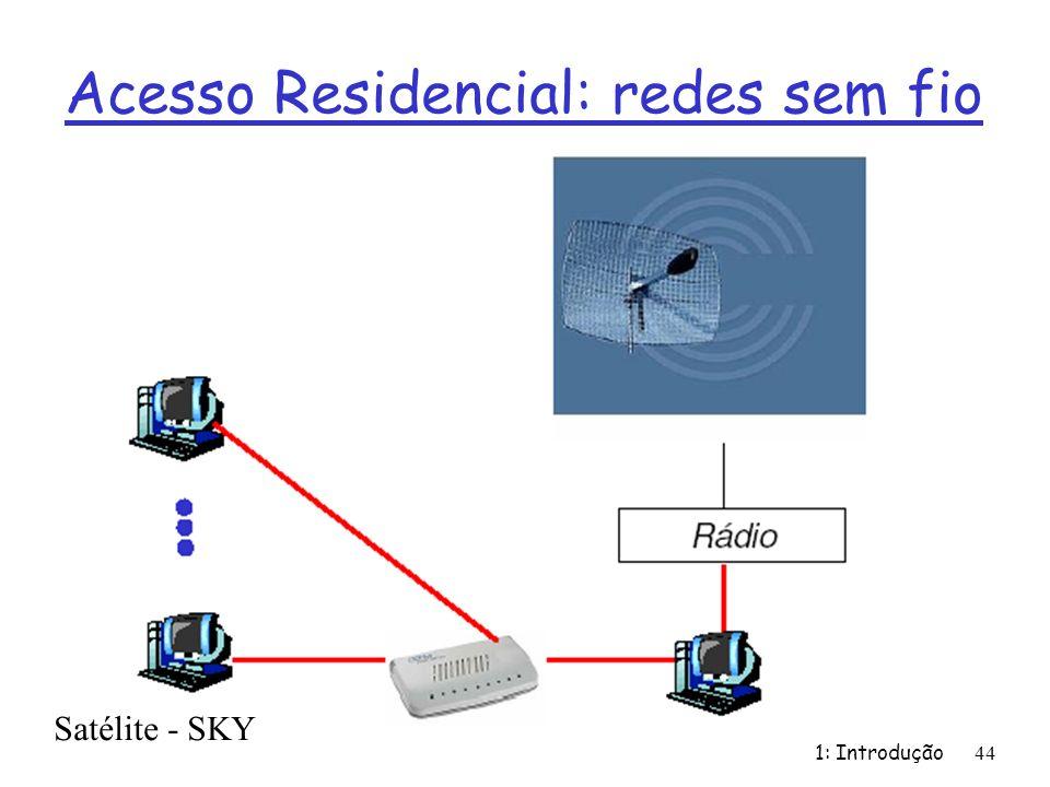 Acesso Residencial: redes sem fio 1: Introdução 44 Satélite - SKY