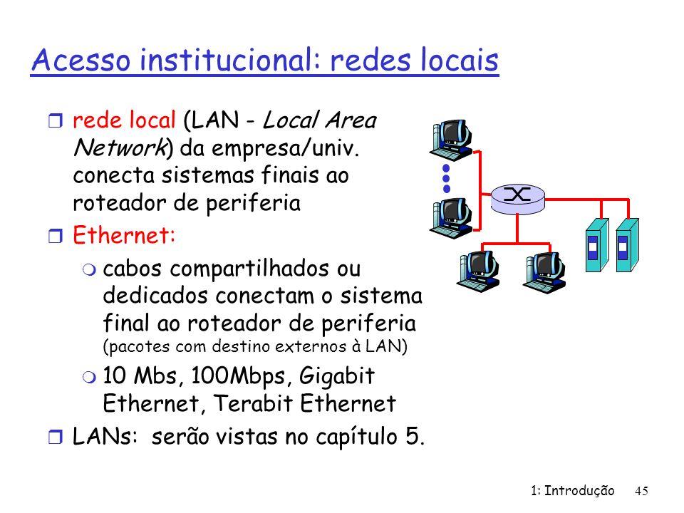 Acesso institucional: redes locais r rede local (LAN - Local Area Network) da empresa/univ. conecta sistemas finais ao roteador de periferia r Etherne