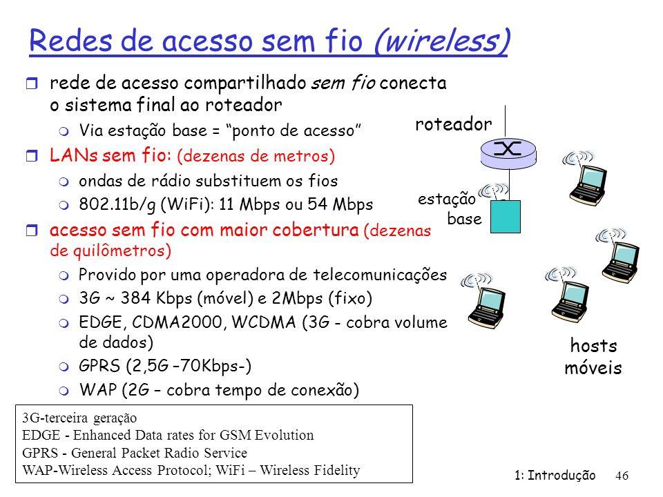 Redes de acesso sem fio (wireless) r rede de acesso compartilhado sem fio conecta o sistema final ao roteador m Via estação base = ponto de acesso r L