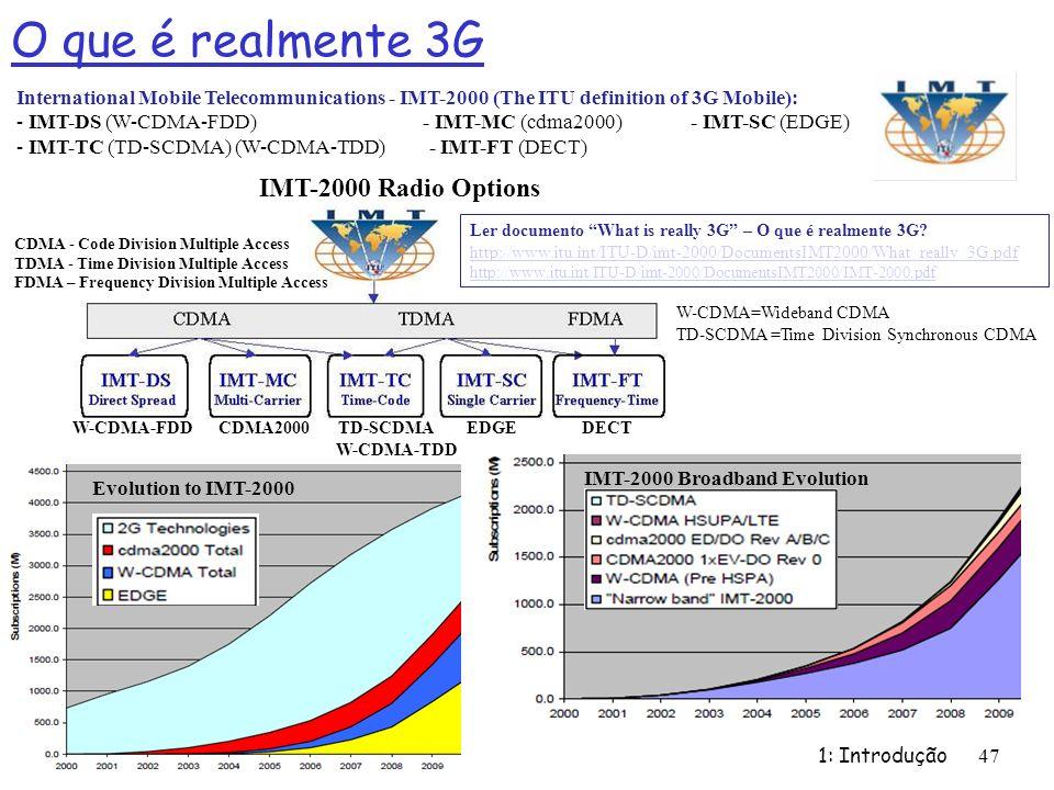 O que é realmente 3G 1: Introdução 47 International Mobile Telecommunications - IMT-2000 (The ITU definition of 3G Mobile): - IMT-DS (W-CDMA-FDD) - IM