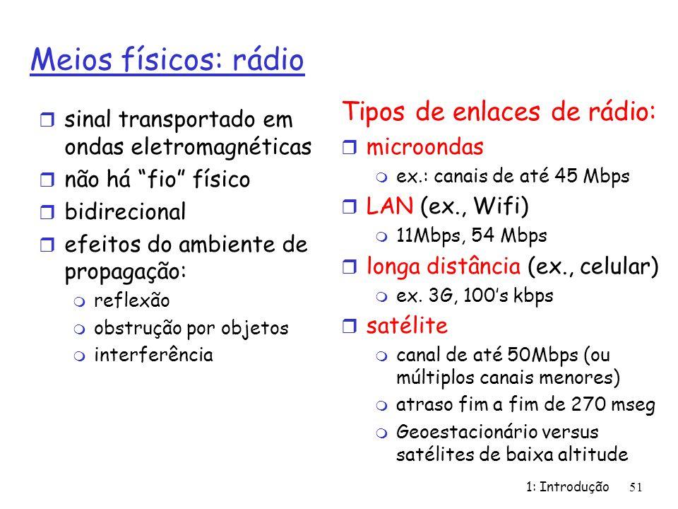 Meios físicos: rádio r sinal transportado em ondas eletromagnéticas r não há fio físico r bidirecional r efeitos do ambiente de propagação: m reflexão