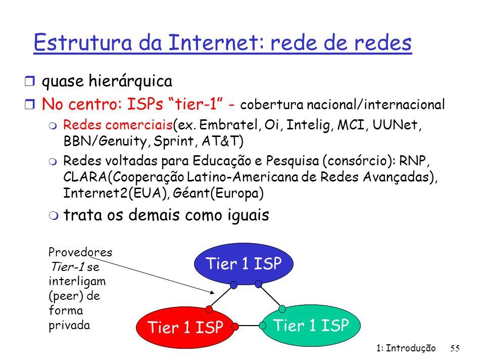Estrutura da Internet: rede de redes r quase hierárquica r No centro: ISPs tier-1 - cobertura nacional/internacional m Redes comerciais(ex. Embratel,