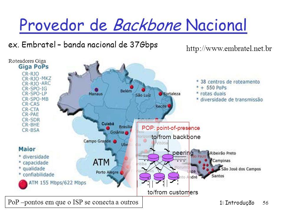 Provedor de Backbone Nacional 1: Introdução 56 ex. Embratel – banda nacional de 37Gbps http://www.embratel.net.br … to/from customers peering to/from
