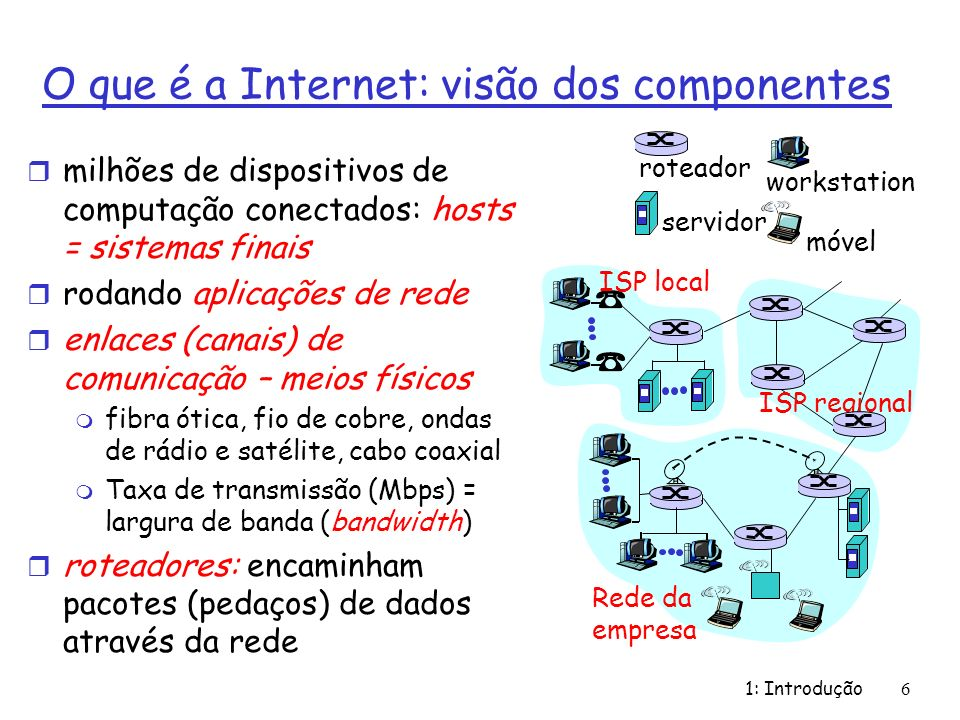 O que é a Internet: visão dos componentes r milhões de dispositivos de computação conectados: hosts = sistemas finais r rodando aplicações de rede r e