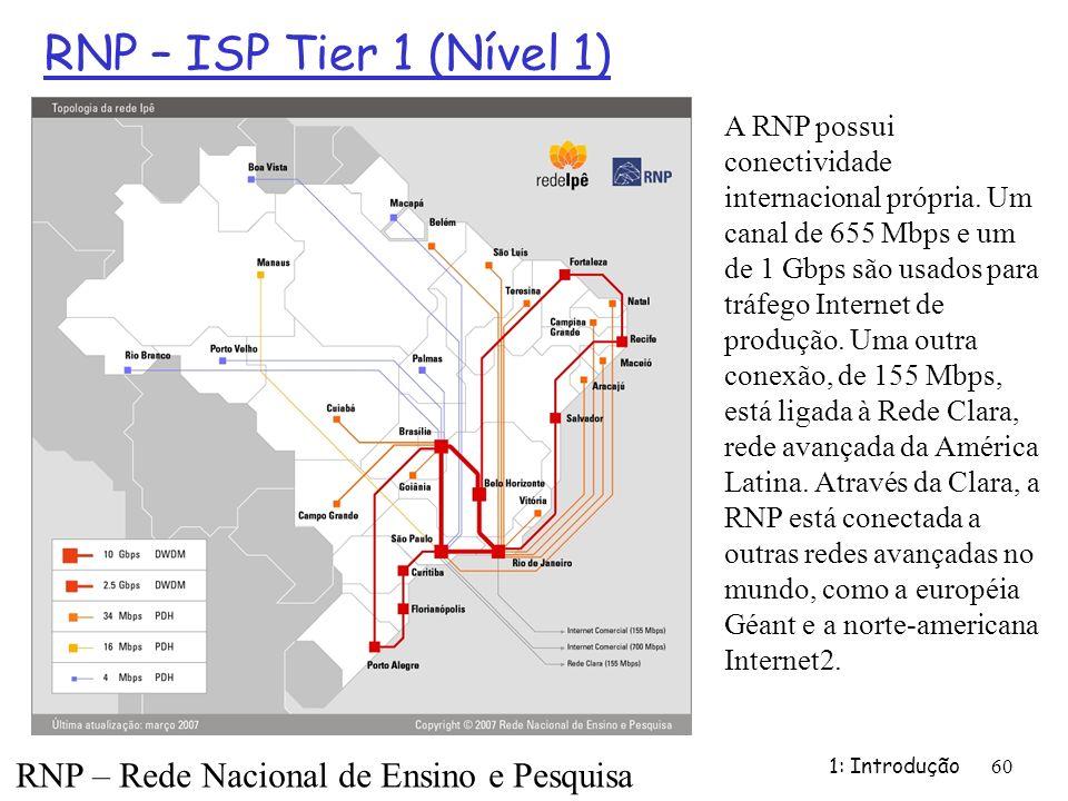 RNP – ISP Tier 1 (Nível 1) 1: Introdução 60 RNP – Rede Nacional de Ensino e Pesquisa A RNP possui conectividade internacional própria. Um canal de 655