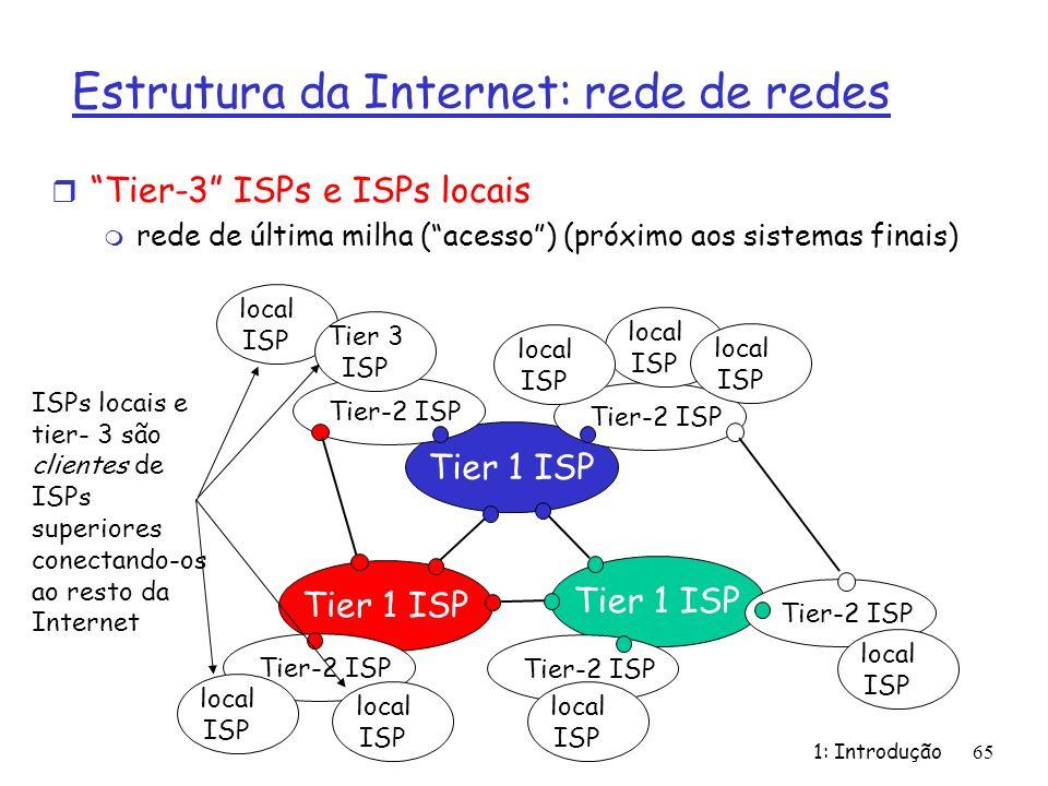 Estrutura da Internet: rede de redes r Tier-3 ISPs e ISPs locais m rede de última milha (acesso) (próximo aos sistemas finais) 1: Introdução 65 Tier 1
