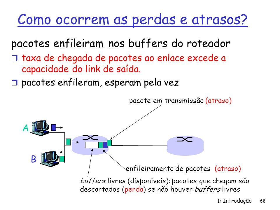 Como ocorrem as perdas e atrasos? pacotes enfileiram nos buffers do roteador r taxa de chegada de pacotes ao enlace excede a capacidade do link de saí