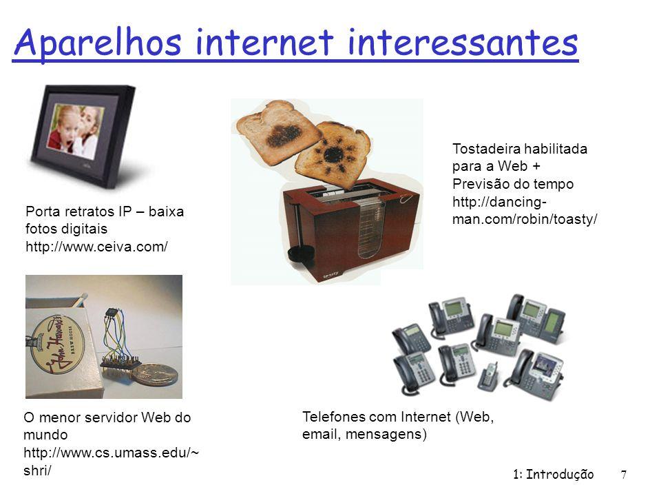 Aparelhos internet interessantes 1: Introdução 7 O menor servidor Web do mundo http://www.cs.umass.edu/~ shri/ Porta retratos IP – baixa fotos digitai