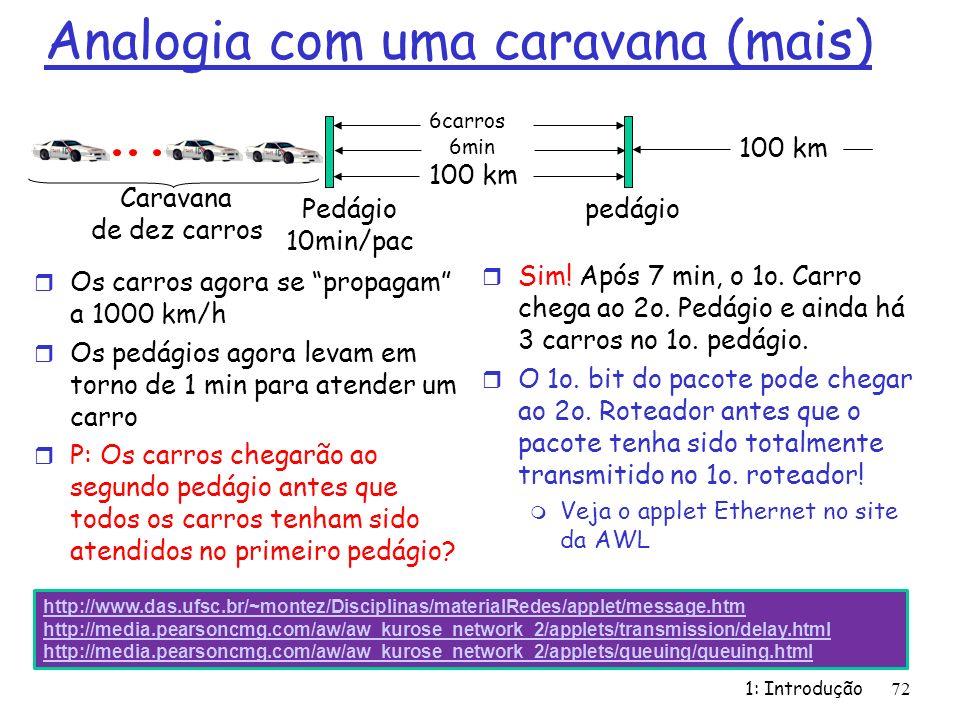 Analogia com uma caravana (mais) r Os carros agora se propagam a 1000 km/h r Os pedágios agora levam em torno de 1 min para atender um carro r P: Os c