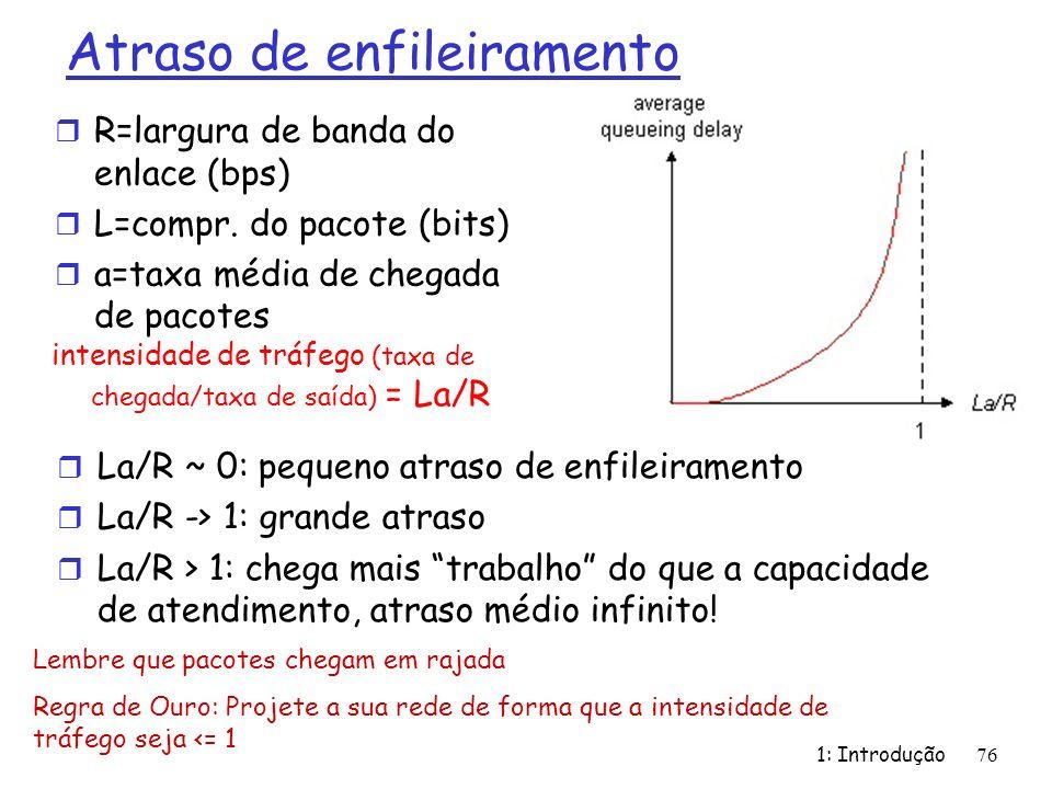 Atraso de enfileiramento r R=largura de banda do enlace (bps) r L=compr. do pacote (bits) r a=taxa média de chegada de pacotes 1: Introdução 76 intens