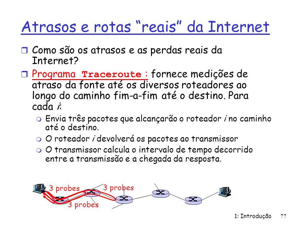 Atrasos e rotas reais da Internet r Como são os atrasos e as perdas reais da Internet? Programa Traceroute : fornece medições de atraso da fonte até o