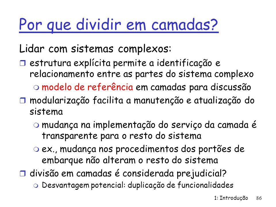 Por que dividir em camadas? Lidar com sistemas complexos: r estrutura explícita permite a identificação e relacionamento entre as partes do sistema co