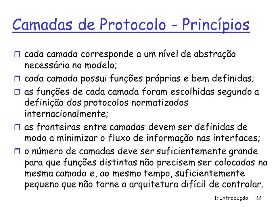 Camadas de Protocolo - Princípios r cada camada corresponde a um nível de abstração necessário no modelo; r cada camada possui funções próprias e bem