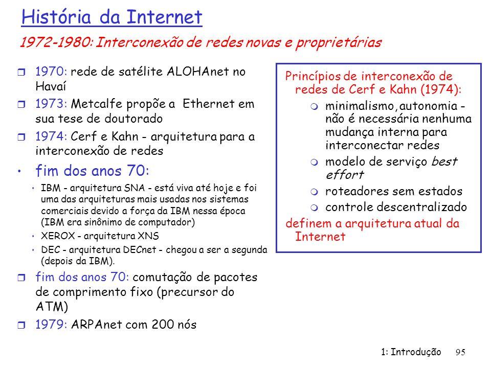 História da Internet r 1970: rede de satélite ALOHAnet no Havaí r 1973: Metcalfe propõe a Ethernet em sua tese de doutorado r 1974: Cerf e Kahn - arqu