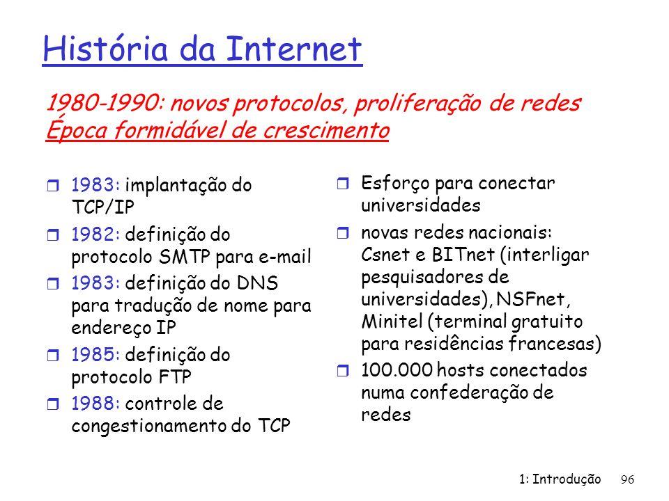 História da Internet r 1983: implantação do TCP/IP r 1982: definição do protocolo SMTP para e-mail r 1983: definição do DNS para tradução de nome para