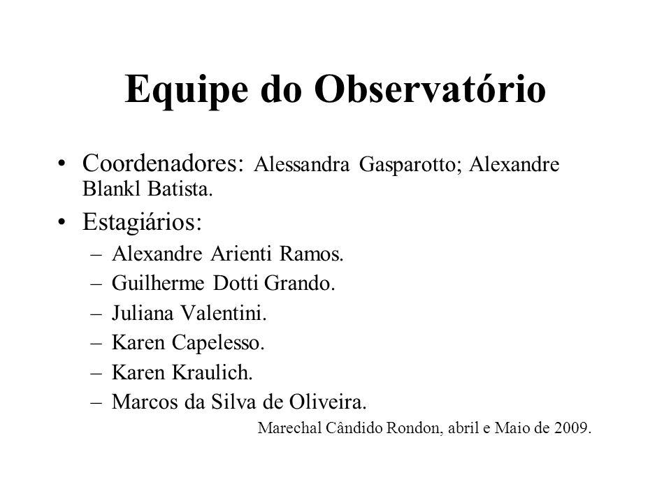 Equipe do Observatório Coordenadores: Alessandra Gasparotto; Alexandre Blankl Batista.