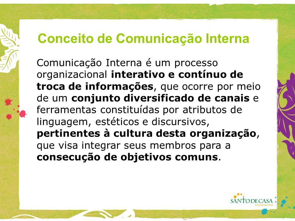 Comunicação Interna é um processo organizacional interativo e contínuo de troca de informações, que ocorre por meio de um conjunto diversificado de canais e ferramentas constituídas por atributos de linguagem, estéticos e discursivos, pertinentes à cultura desta organização, que visa integrar seus membros para a consecução de objetivos comuns.