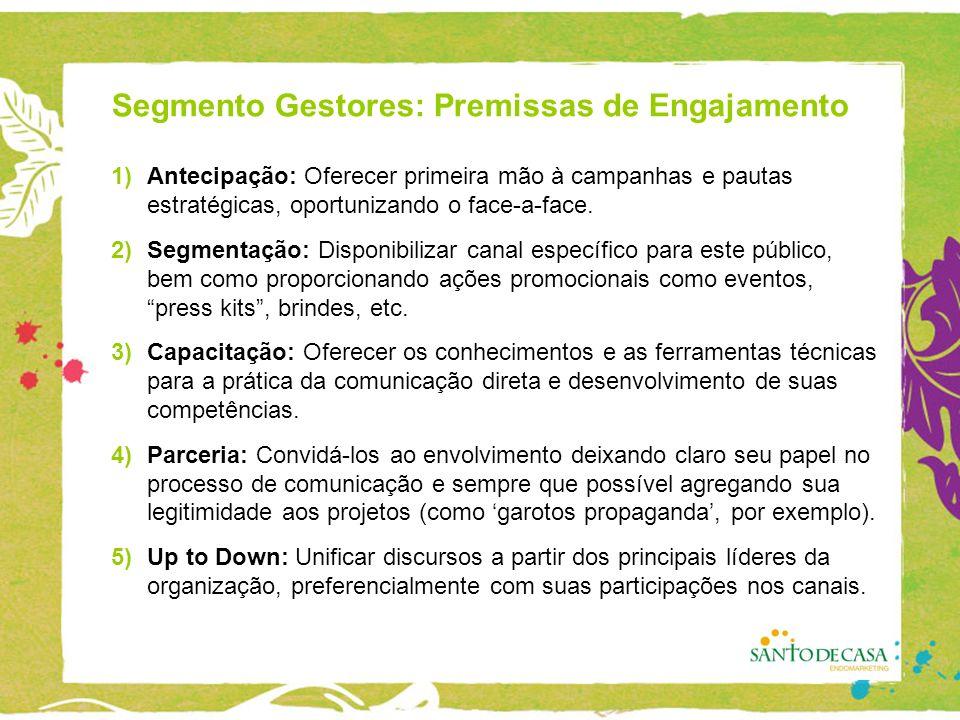 Segmento Gestores: Premissas de Engajamento 1)Antecipação: Oferecer primeira mão à campanhas e pautas estratégicas, oportunizando o face-a-face.