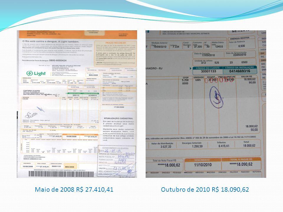 Maio de 2008 R$ 27.410,41 Outubro de 2010 R$ 18.090,62