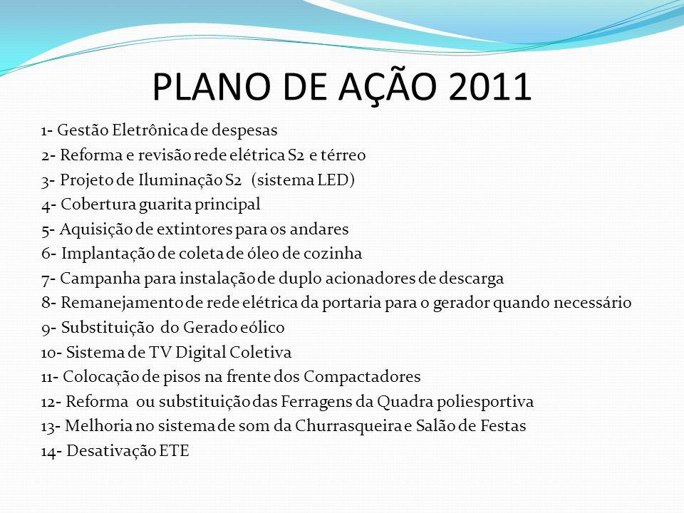 PLANO DE AÇÃO 2011 1- Gestão Eletrônica de despesas 2- Reforma e revisão rede elétrica S2 e térreo 3- Projeto de Iluminação S2 (sistema LED) 4- Cobert