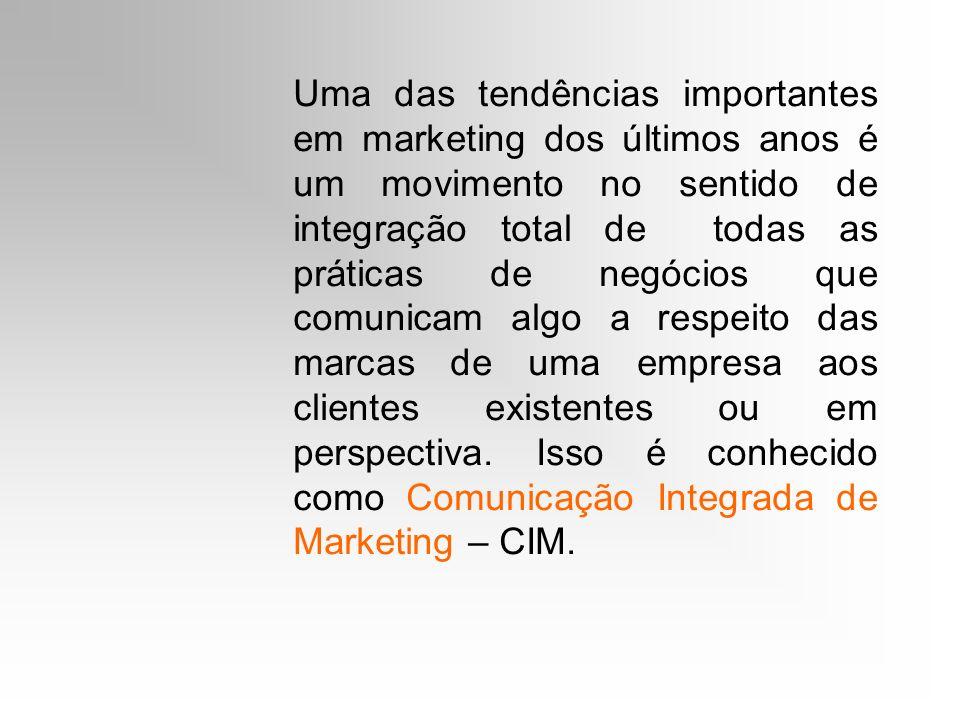 Uma das tendências importantes em marketing dos últimos anos é um movimento no sentido de integração total de todas as práticas de negócios que comuni