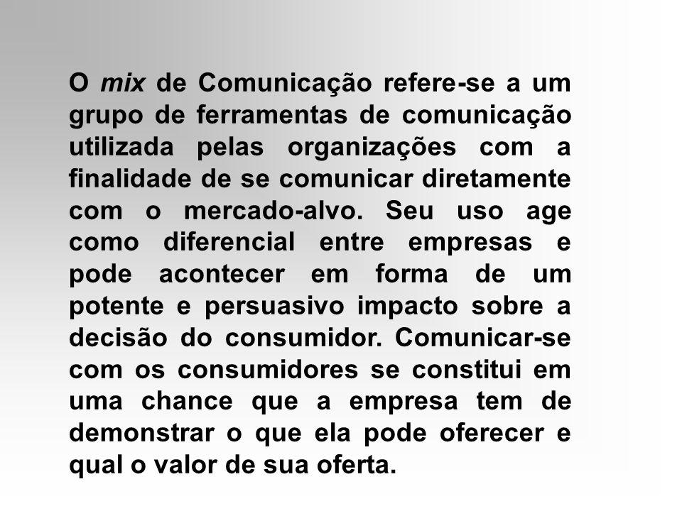 O mix de Comunicação refere-se a um grupo de ferramentas de comunicação utilizada pelas organizações com a finalidade de se comunicar diretamente com