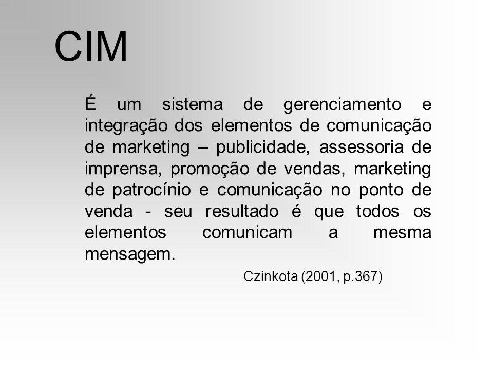 CIM É um sistema de gerenciamento e integração dos elementos de comunicação de marketing – publicidade, assessoria de imprensa, promoção de vendas, ma