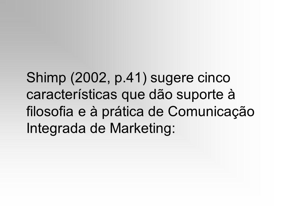 Shimp (2002, p.41) sugere cinco características que dão suporte à filosofia e à prática de Comunicação Integrada de Marketing: