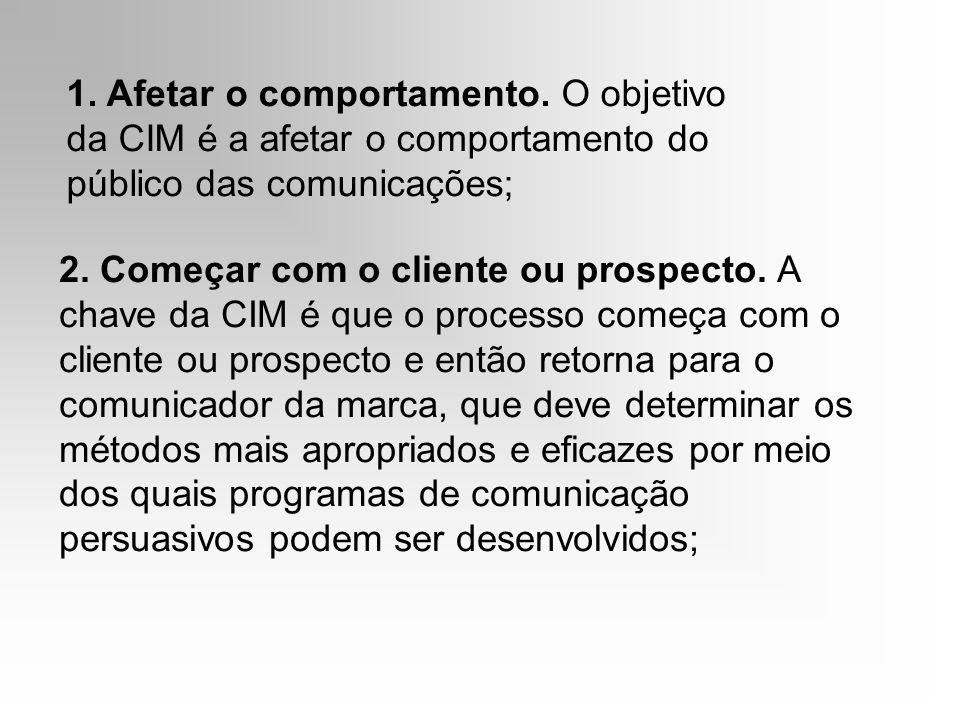 1. Afetar o comportamento. O objetivo da CIM é a afetar o comportamento do público das comunicações; 2. Começar com o cliente ou prospecto. A chave da