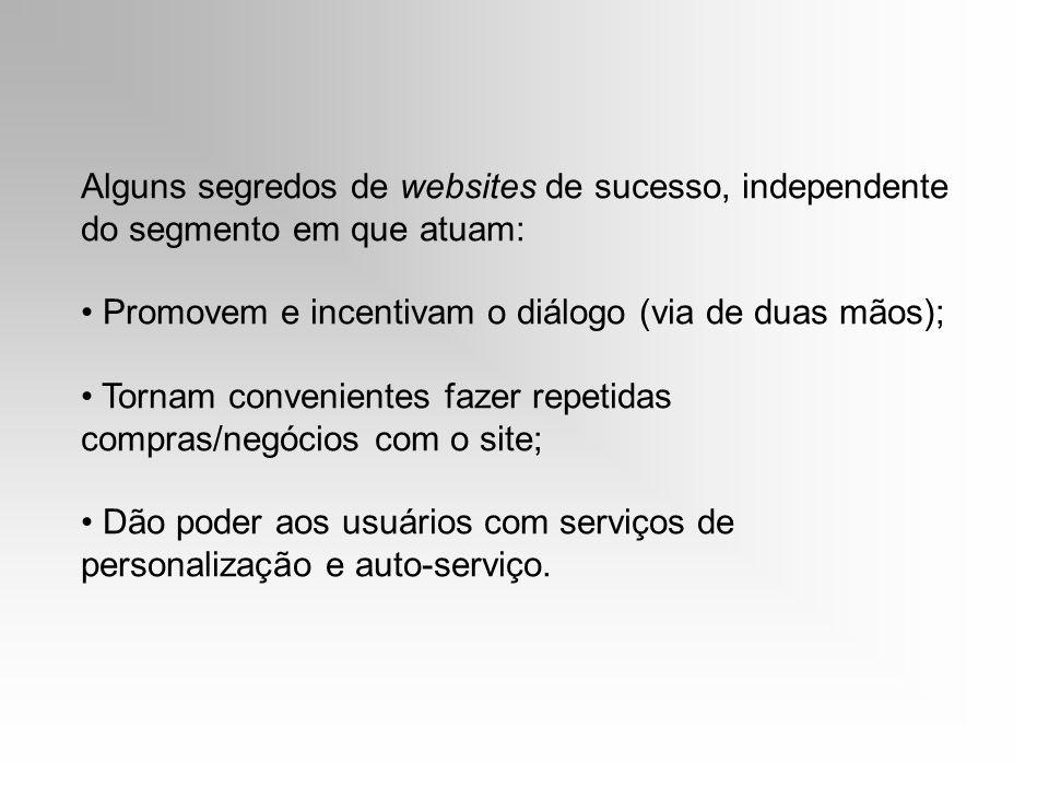 Alguns segredos de websites de sucesso, independente do segmento em que atuam: Promovem e incentivam o diálogo (via de duas mãos); Tornam convenientes