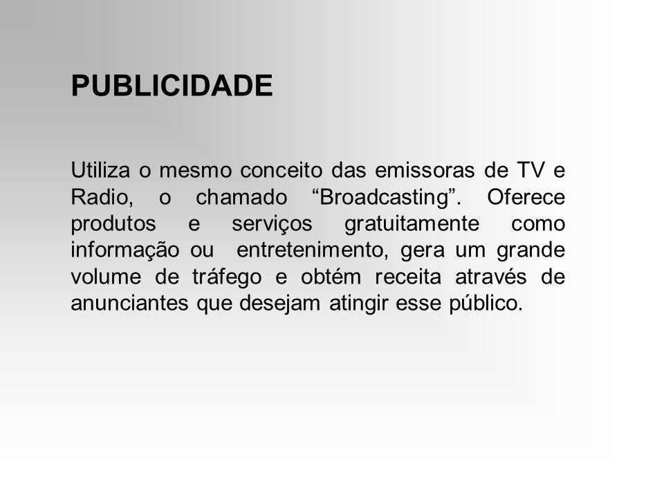 PUBLICIDADE Utiliza o mesmo conceito das emissoras de TV e Radio, o chamado Broadcasting. Oferece produtos e serviços gratuitamente como informação ou